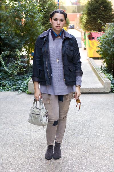 Zara sweater - liebeskind boots - J Crew jacket - balenciaga bag - j brand pants