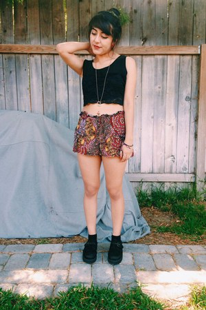 black shoes - orange loose fitted shorts - black laced top thrifted blouse