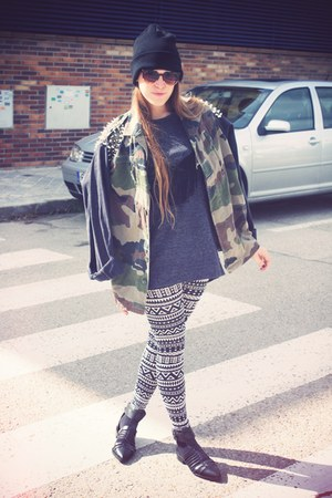 asos hat - LF jacket - H&M leggings - 80s purple sunglasses - Zara sandals
