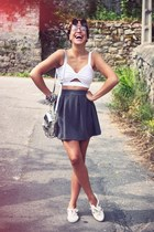 asos top - f-troupe shoes - Zara bag - H&M skirt - MEISTER SHADES accessories