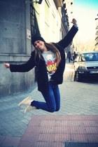 whop Zara top - Converse shoes - Zara coat - Zara jeans - asos hat