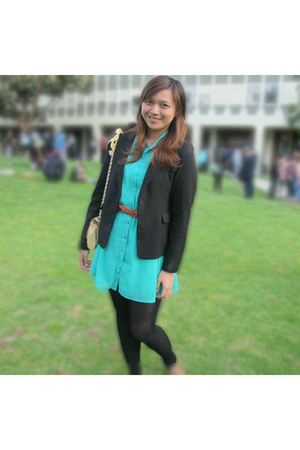 green Valley Girl dress - black jacket - yellow Review bag - brown belt