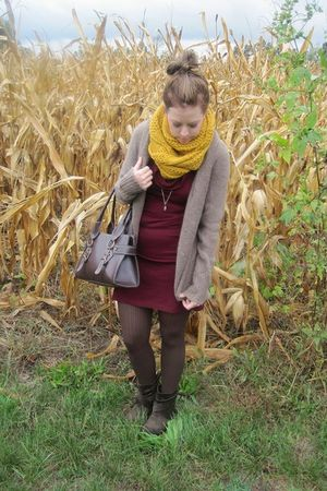 gold Forever 21 scarf - red Meijer dress - brown Forever 21 cardigan - brown Tar