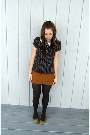 dark brown Target tights - dark brown Zara top - bronze thrifted skirt - camel T