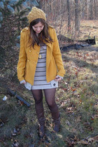 mustard coat - mustard hat - beige dress - beige cardigan - dark brown boots - d