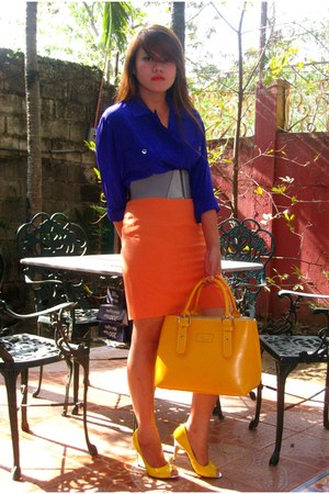 yellow Hermes bag - blue SOSI STUFF blouse - carrot orange SOSI STUFF skirt - ye