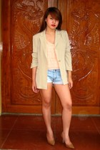 beige SOSI STUFF blazer - sky blue Forever 21 shorts - peach soiree top - camel
