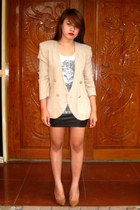 dark khaki SOSI STUFF blazer - white Forever 21 top - black online buy skirt - c