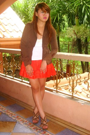 carrot orange Forever 21 skirt - brown SOSI STUFF blazer