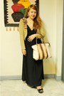 Black-zara-dress-black-melissa-shoes-camel-forever-21-blazer
