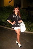 white Chanel shoes - black Forever 21 blazer - white Celine bag