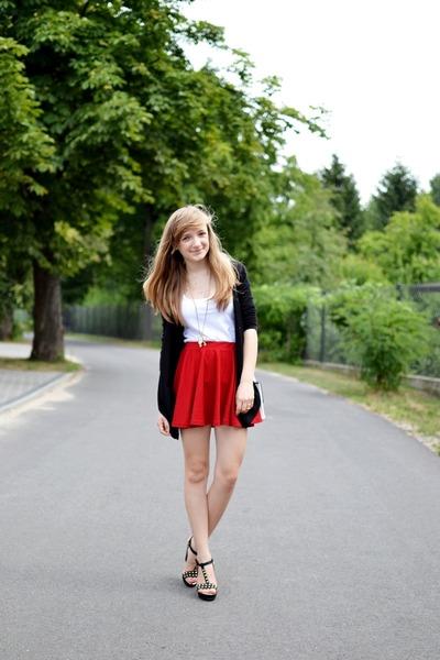 Bershka sweater - tideshe skirt - New Yorker top - NN wedges