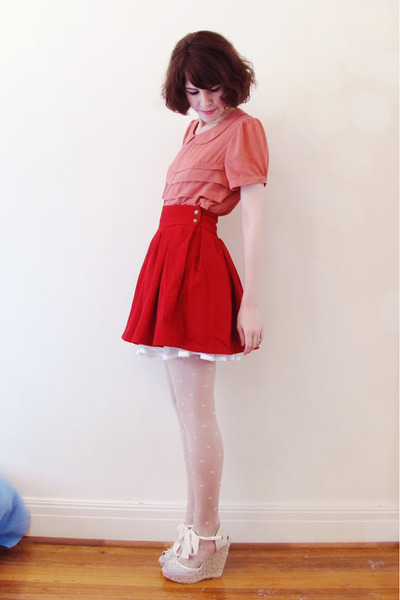 petticoat Ebay skirt - swing romwe skirt - heart print Forever New stockings