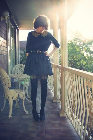 blue tba dress - black Ebay belt - black Topshop stockings - black Chloe shoes