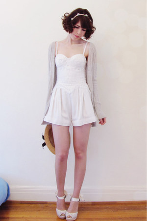 ivory lula lace Lover romper - heather gray angora blend french kitty cardigan
