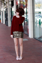 gold sequin skirt - black Ebay accessories - crimson bow back Dotti jumper