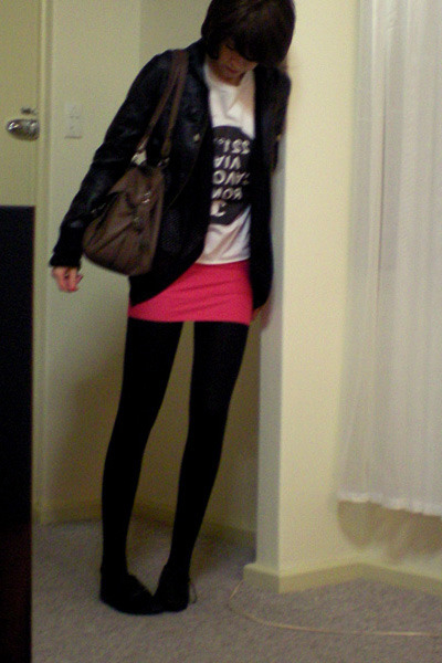 Sportsgirl jacket - cotton on sweater - DIY t-shirt - DIY skirt - Mimco purse -