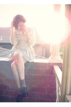 gray french kitty cardigan - white vintage dress - brown Forever 21 socks - blac