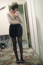 portmans hat - cotton on sweater - American Apparel skirt - Sportsgirl stockings