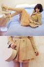 Beige-skirted-mac-forever-new-coat-carrot-orange-fine-knit-thrifted-sweater