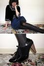 Black-forever-21-jacket-blue-forever-21-skirt-black-supermarket-tights-top
