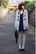 off white yana duffle Forever New coat - navy sailor romwe dress