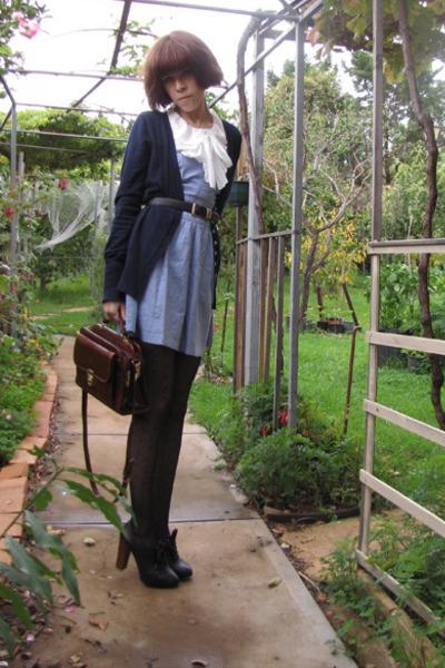 black Chloe shoes - black Ebay tights - blue BB Dakota dress - blue Dotti cardig