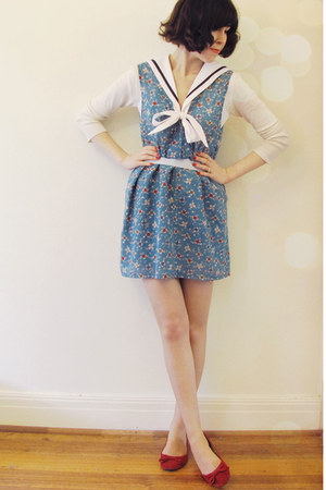 teal vintage Dame Jolie dress - white hello sailor Wild Hearts blouse