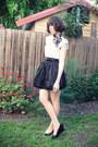 White-button-n-thread-top-black-savers-skirt-navy-markets-scarf-black-rubi