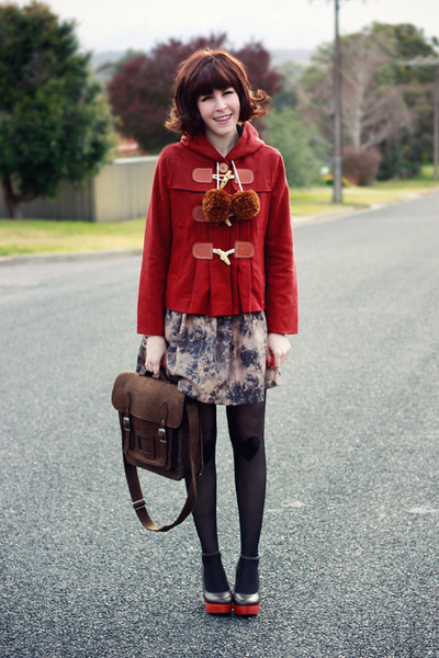 brick red Gorman coat - light brown floral print modcloth dress