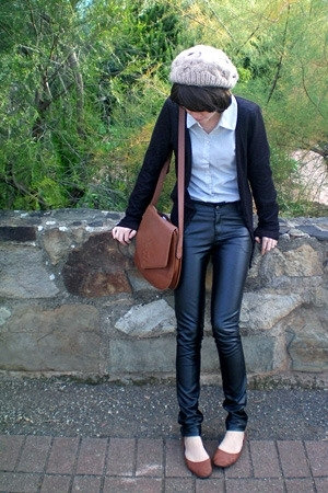 brown vintage satchel YSL purse - brown Joanne Mercer shoes