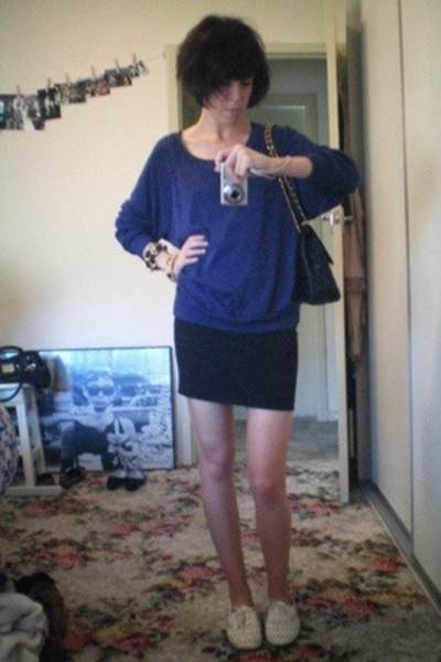 American Apparel sweater - bardot skirt - Steve Madden shoes - Chanel purse - Et