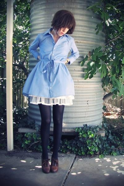 brown Chloe shoes - blue American Apparel dress - black military bag Luella bag