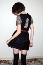 black Forever 21 dress - Topshop blouse - black Target socks - brown vintage bel