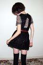 Black-forever-21-dress-topshop-blouse-black-target-socks-brown-vintage-bel
