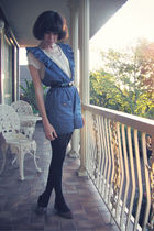 blue romper DIY jumper - brown ballet flats Joanne Mercer shoes