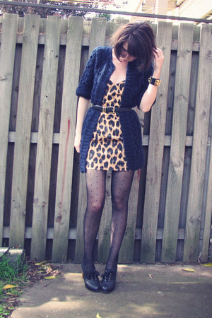 leopard print Motel dress - fisherman Motel cardigan - bobble asos cardigan
