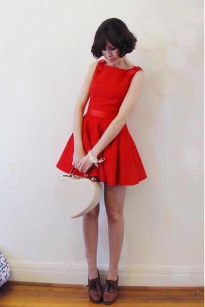 Chloe heels - Wild Hearts dress - heart basket Forever New bag
