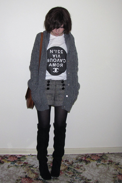 gray Dotti shorts - black Midas shoes - gray Sportsgirl coat