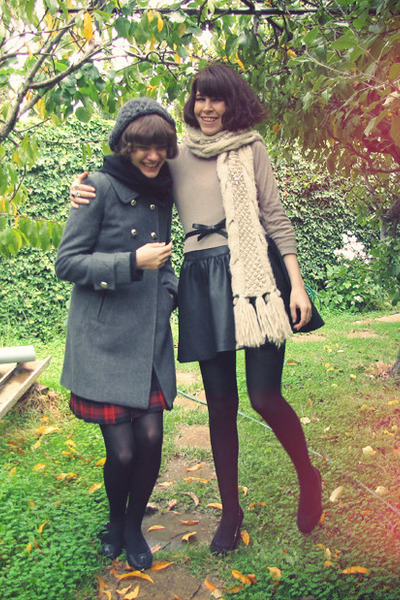 tan asos sweater - beige cableknit asos scarf - black bow asos belt - black leat