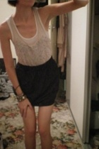 bardot top - American Apparel skirt - Joanne Mercer shoes - YSL purse - cotton o