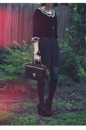 black miss patina dress - Forever 21 jacket - black Sportsgirl shoes - brown vin