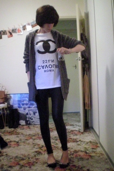 t-shirt - Sportsgirl sweater - American Apparel leggings - ebaycouk shoes