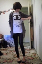 t-shirt - Sportsgirl sweater - American Apparel leggings - ebaycouk shoes