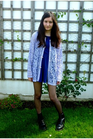 black Dr Martens boots - blue Topshop dress - light purple cardigan