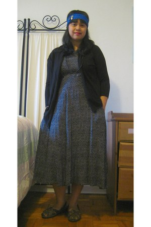 black Macys sweater - clothes swap dress - MaggiesFarmm accessories - dark brown