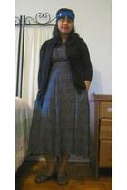 black Macys sweater - clothes swap dress - MaggiesFarmm accessories - dark brown