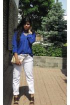 white Forever 21 necklace - pink H&M bag - off white Ardene belt
