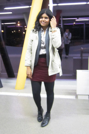 maroon Forever 21 skirt - black Spring shoes - tan areopostale jacket