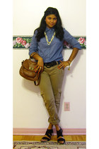 Forever 21 top - Costa Blanca pants - expression heels - Forever 21 belt - Forev